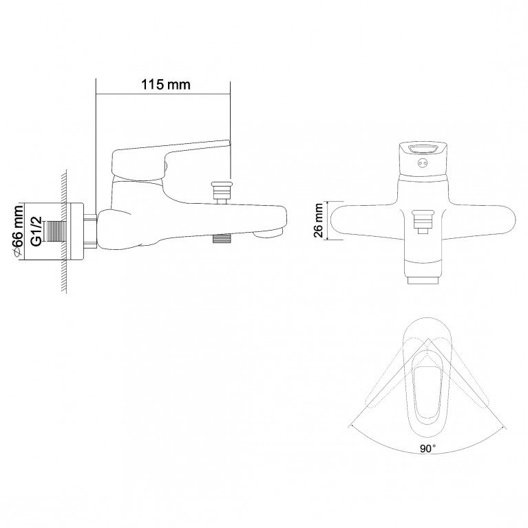NARCIZ смеситель для ванны однорычажный,  хром  40мм RBZ100-3, фото 2