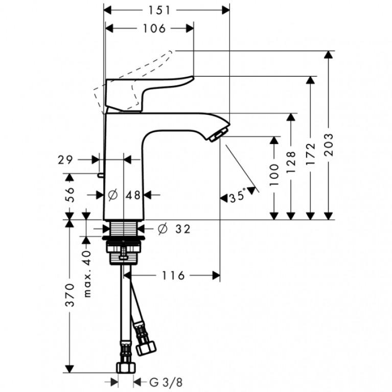 Metris Смеситель для раковины 110 однорычажный, хром 31080000, фото 2
