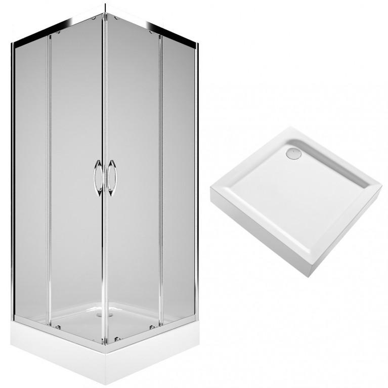 REKORD душевая кабина 90см, квадратная, прозрачное стекло, серебристый блeck+FIRST поддон квадратный 90*90см, с интегр. панелью