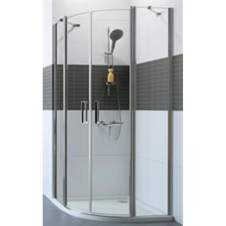 CLASSICS2 Дверь распашная, двустворчатая, с неподвижным сегментом 90*190см (серебро с ярким блеском прозрачное)