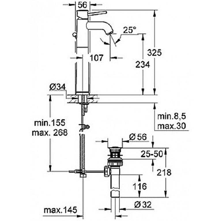 BauClassic Смеситель для раковины, однорычажный, высокий 32868000