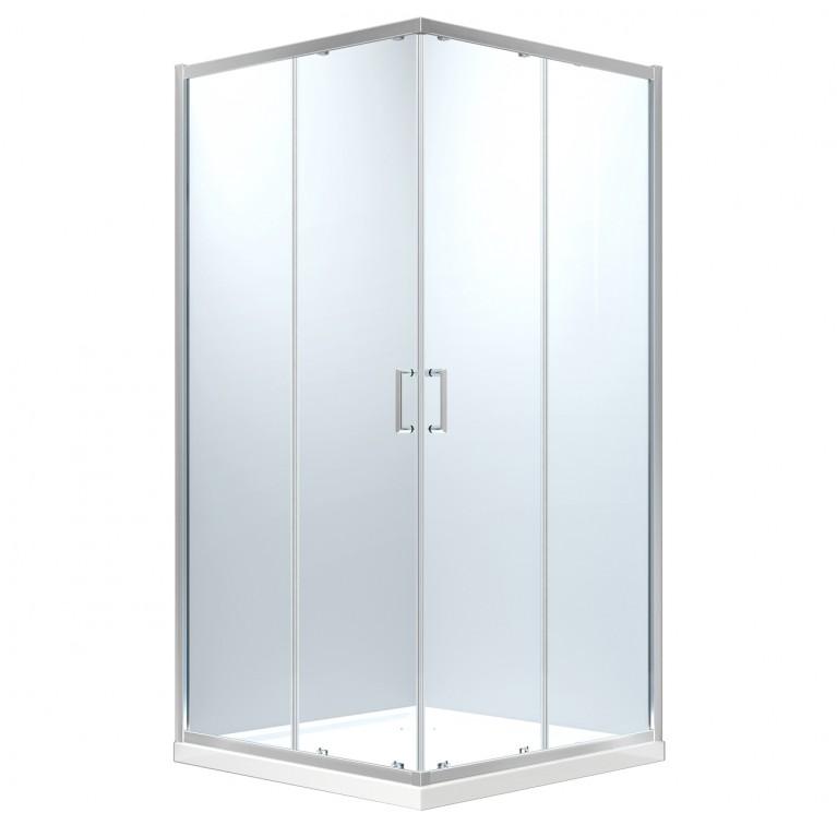 HÉVÍZ Душевая кабина квадратная 900*900*1950мм(стекла+двери), двери раздвижные, стекло прозрачное  6 мм, профиль хром, фото 1