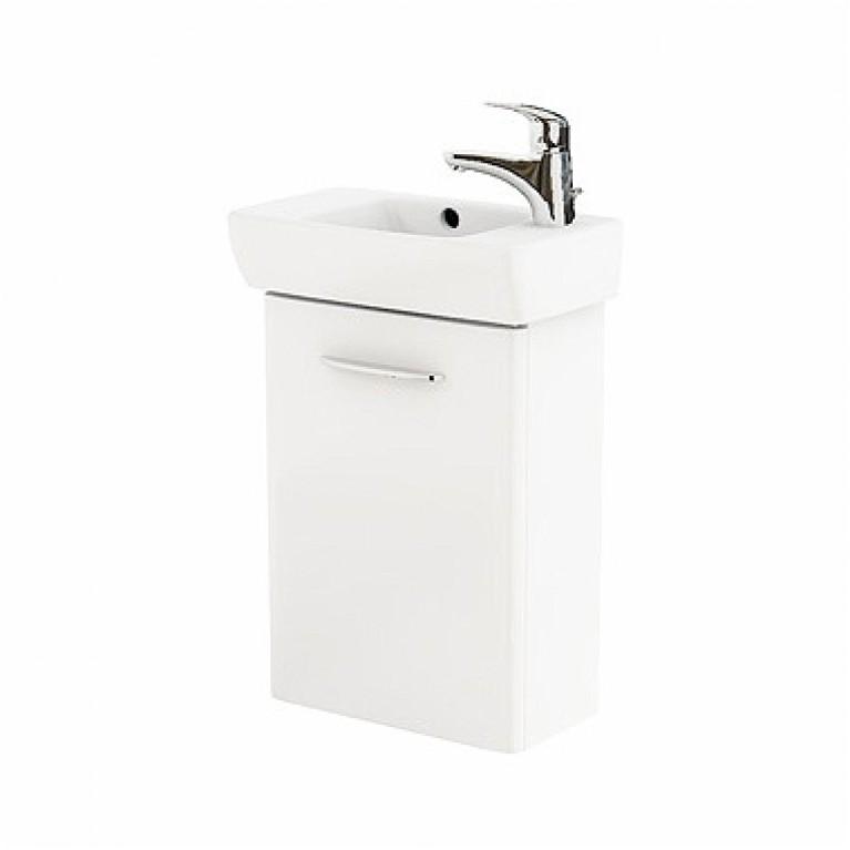 NOVA PRO комплект: умывальник 45см прямоугольный, правое отверстие + шкафчик для умывальника белый глянец (пол)