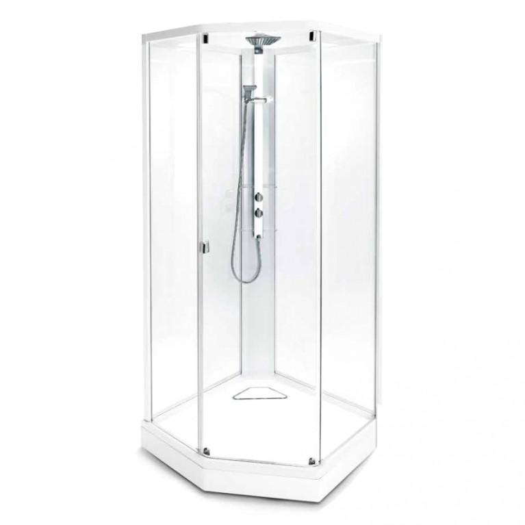 Модель 8-5 (900*900 мм), белый профиль, прозрачное стекло