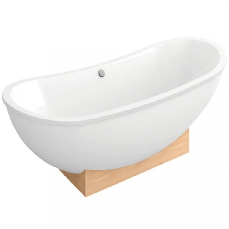 MY NATURE ванна 190*80см отдельно стоящая с деревянной консолью(цв.белый),с сливом/перел.хром, цвет white (alpin)