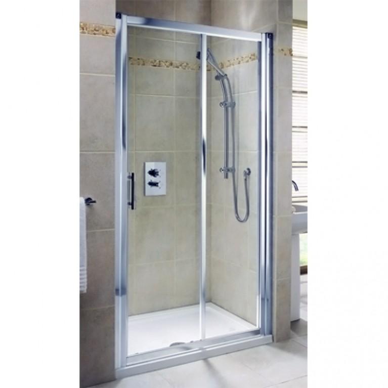 GEO 6 двери 140см, раздвижные 2-элементные, закаленное стекло, серебряный блеск, часть 1/2, фото 1