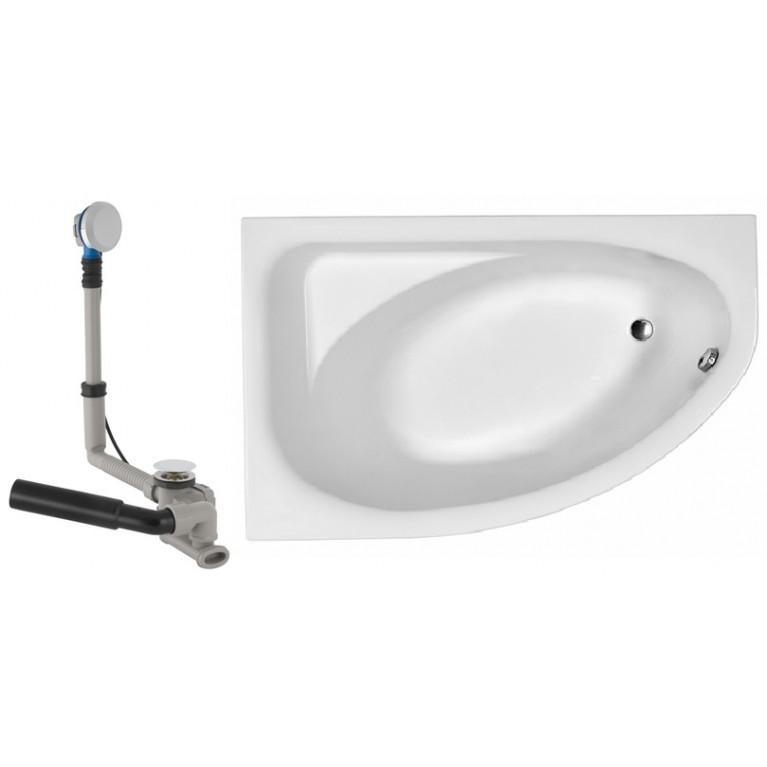 SPRING ванна ассиметричная 160*100 см, левая в комплекте с сифоном Geberit 150.520.21.1, с ножками SN7