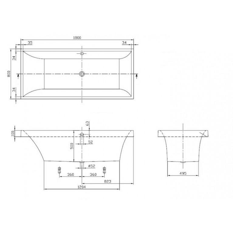 SQUARO ванна 180*80см в комплекте с ножками UBQ180SQR2V-01, фото 3