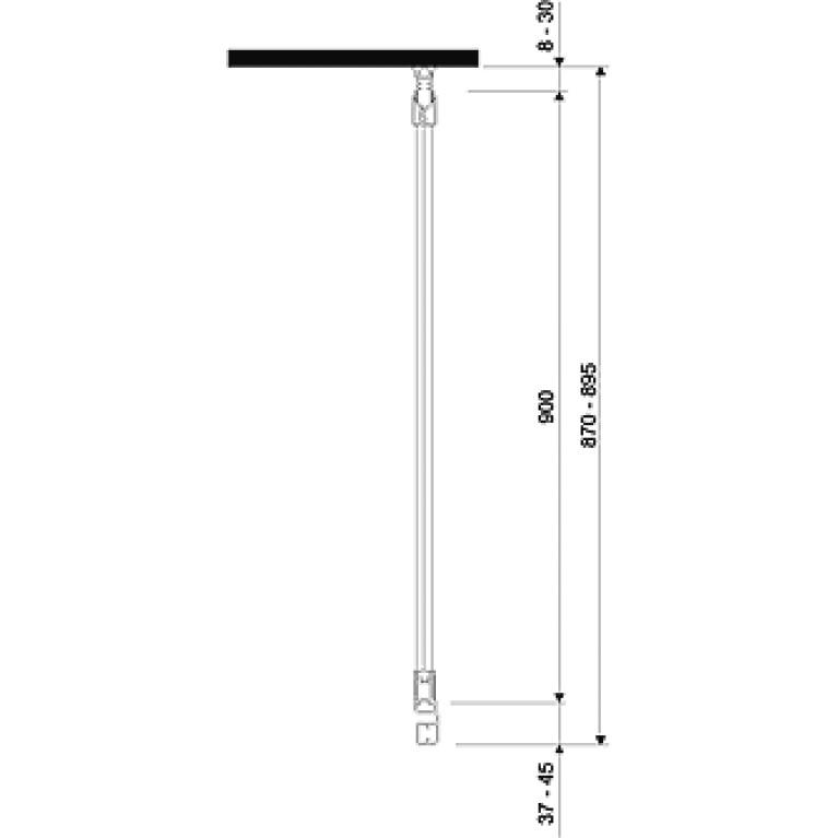 GEO 6 боковая стенка 90 см, для комплектации с раздвижными дверями Pilot и Bifold серебряный блеск GSKS90222003, фото 3