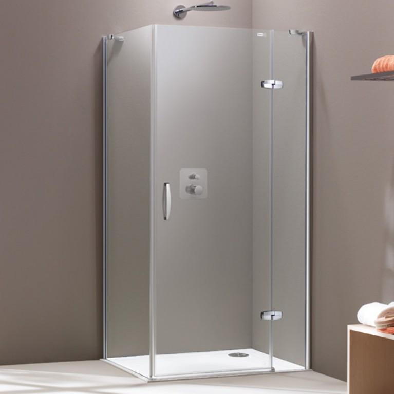 AURA ELEGANCE дверь распашная с неподв сегментом 120*190см (проф мат серебро, стекло прозр), фото 1
