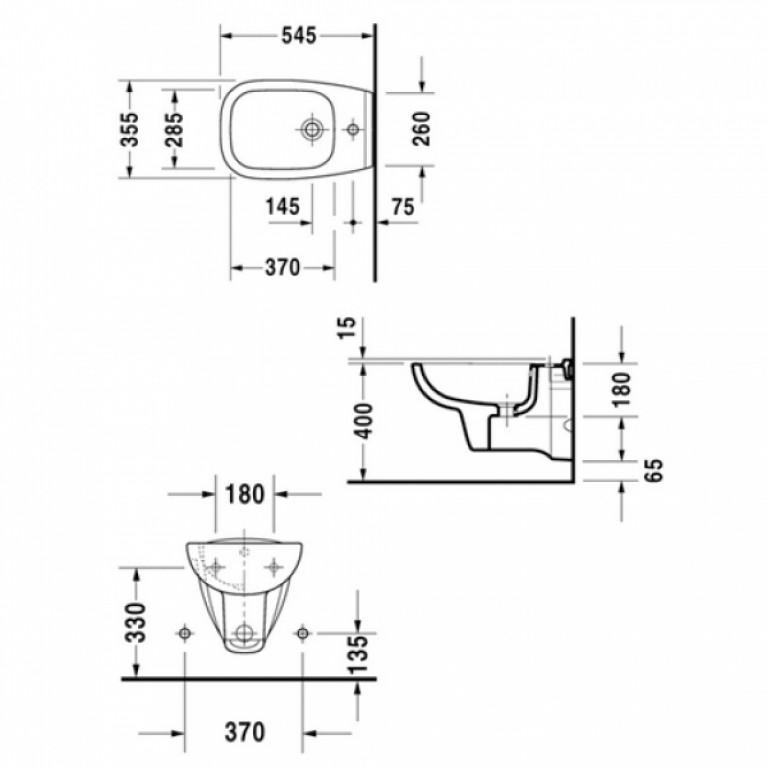 D-CODE биде 35,5*54,5см, подвесное, с отв. под смеситель, с переливом 22571500002, фото 2