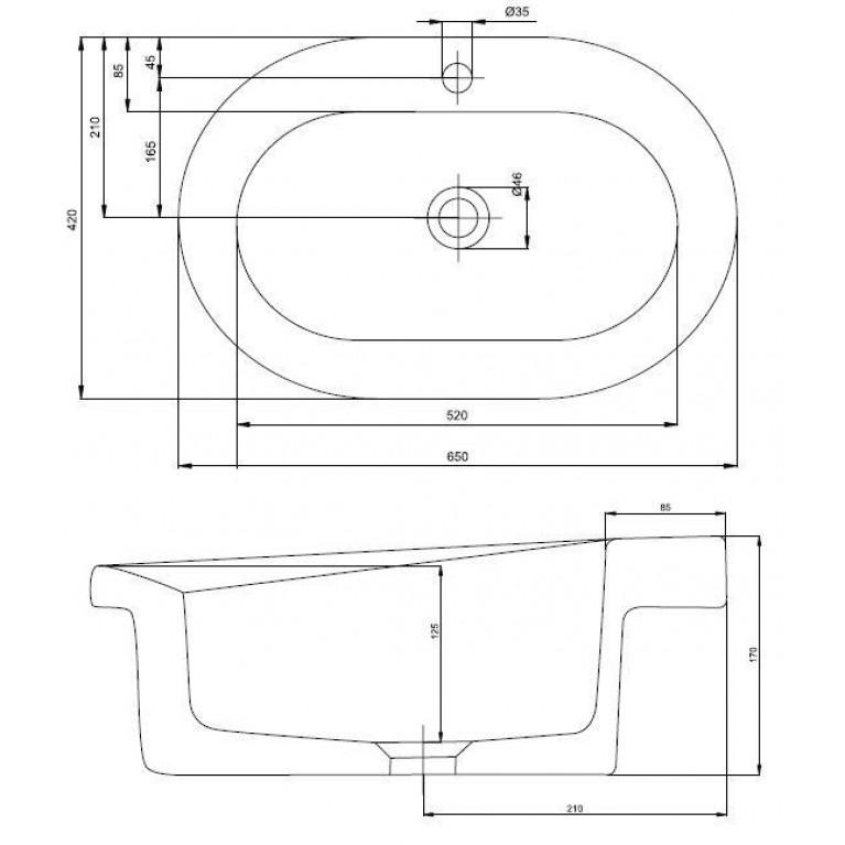 COCKTAIL умывальник встраиваемый на столешницу с отверстием, без перелива 65*42 см (пол.) L31665000, фото 2