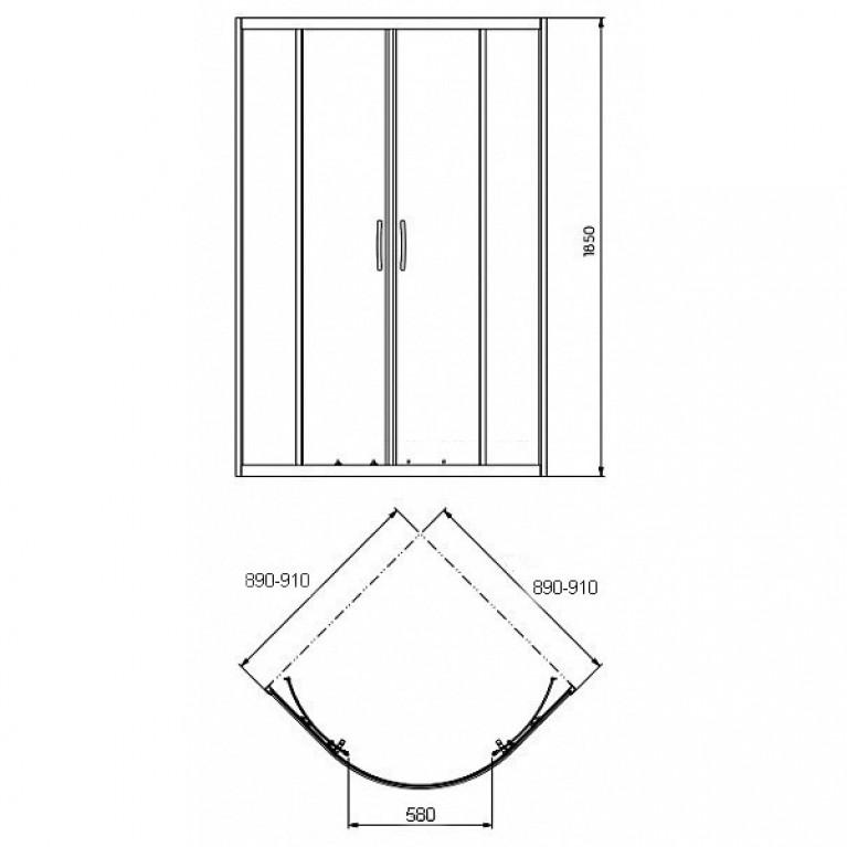 REKORD кабина полукруглая 90*90 см, профиль серебристый металлик, стекло прозрачное PKPG90222003, фото 2