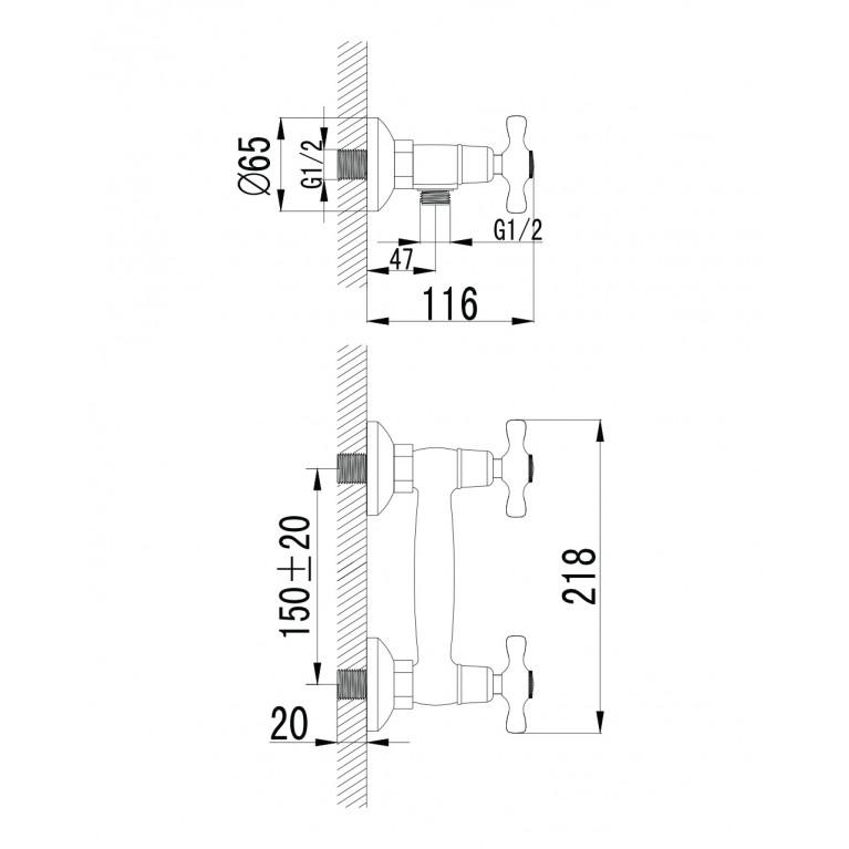 RALSKO NEW двухвентильнный смеситель для душа,хром 15240NEW, фото 2