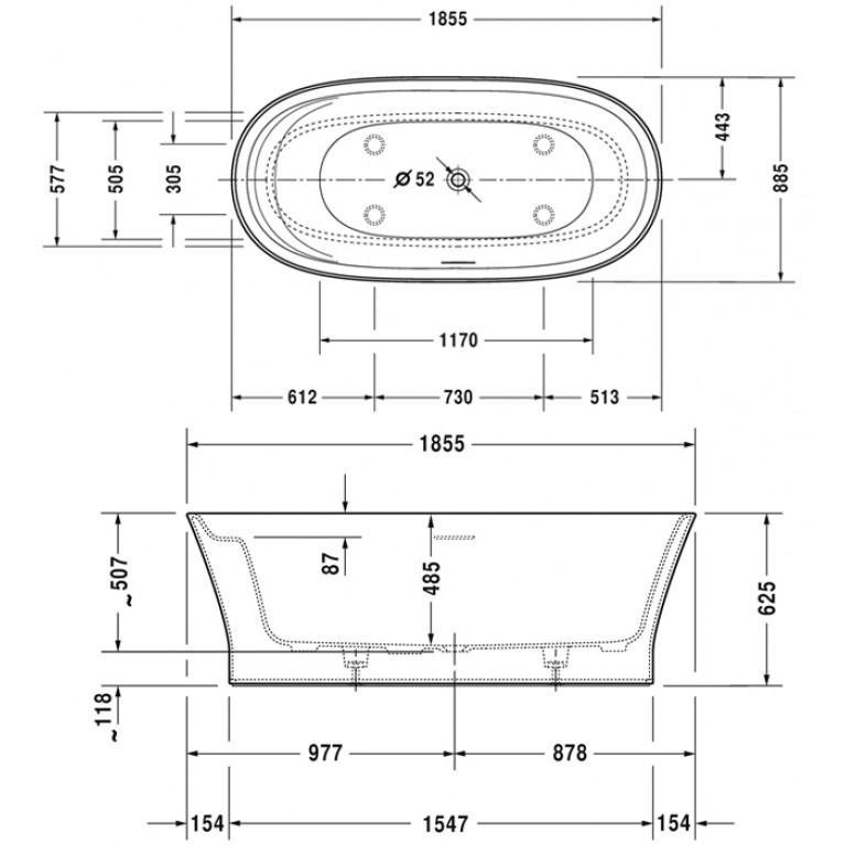 CAPE COD ванна 185,5*88,5*48,5см, отдельностоящая, с бесшовной панелью, ножками, с 1м наклоном для спины, со спец сливом и переливом 700330000000000, фото 2