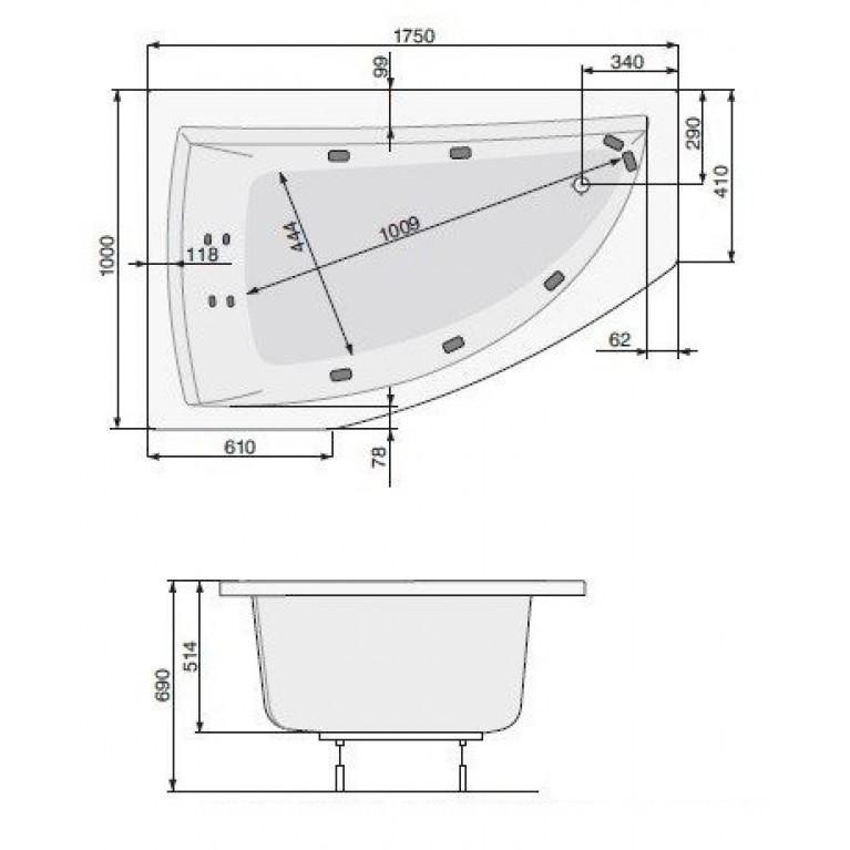 AQUAMARINA ванна 175x100 правая + ножки PWAI510ZN000000, фото 2