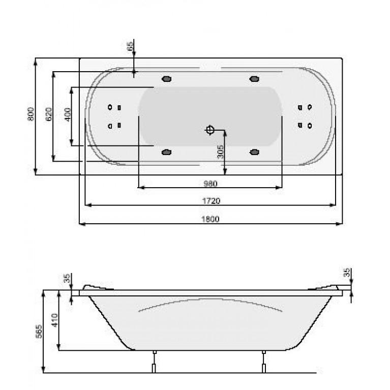 GEMINI ванна 180*80см, с системой гидромассажа System Economy 1 PHPD910SO1C0000, фото 2