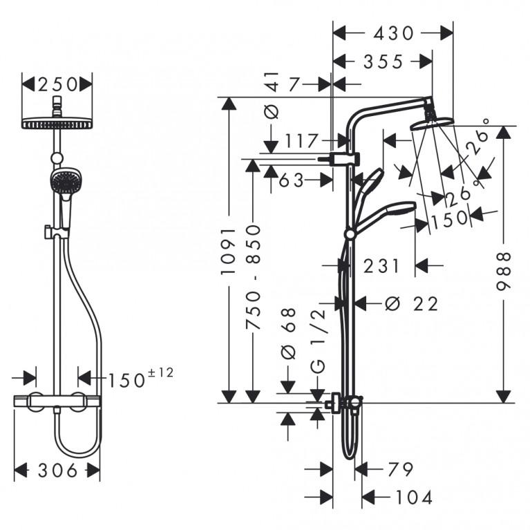 My Select Showerpipe 240 душевая система с термостатом, белый/хром 26764400