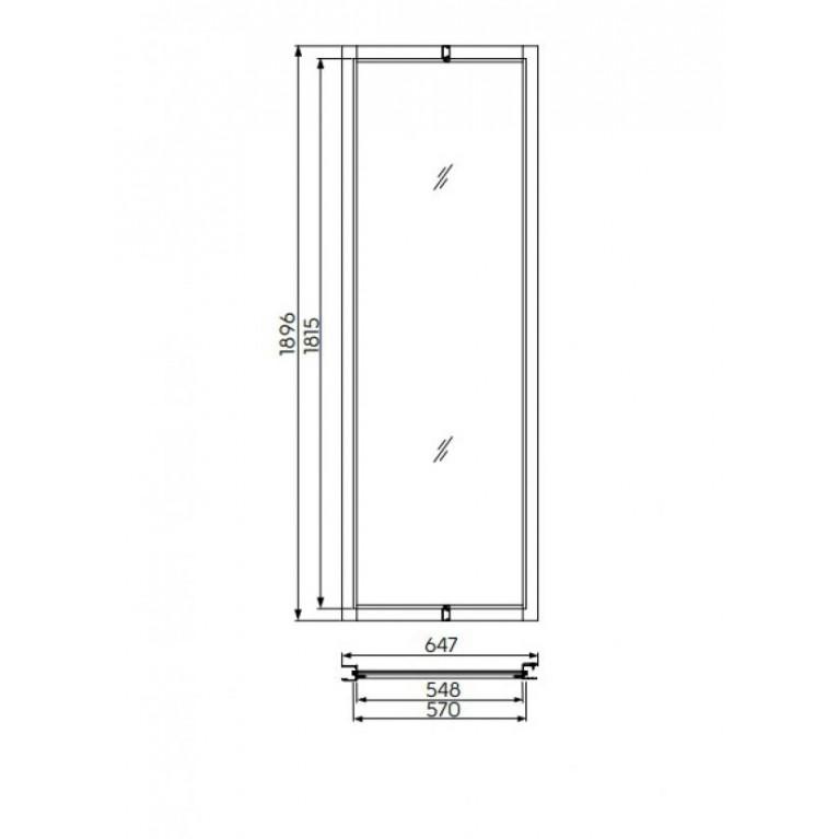 GEO 6 панель расширяющая 60 см, закаленное стекло, серебряный блеск, фото 2