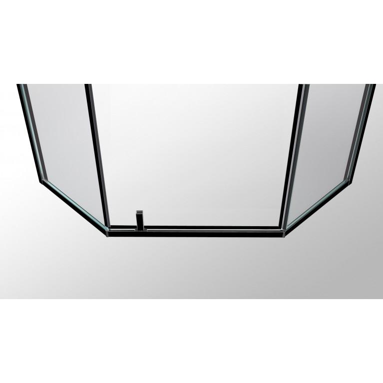A LÁNY Душевая кабина пятиугольная, реверсивная 900*900*2085(на поддоне 135 мм) дверь распашная, стекло прозрачное  6 мм, профиль черный 599-552 Black, фото 4