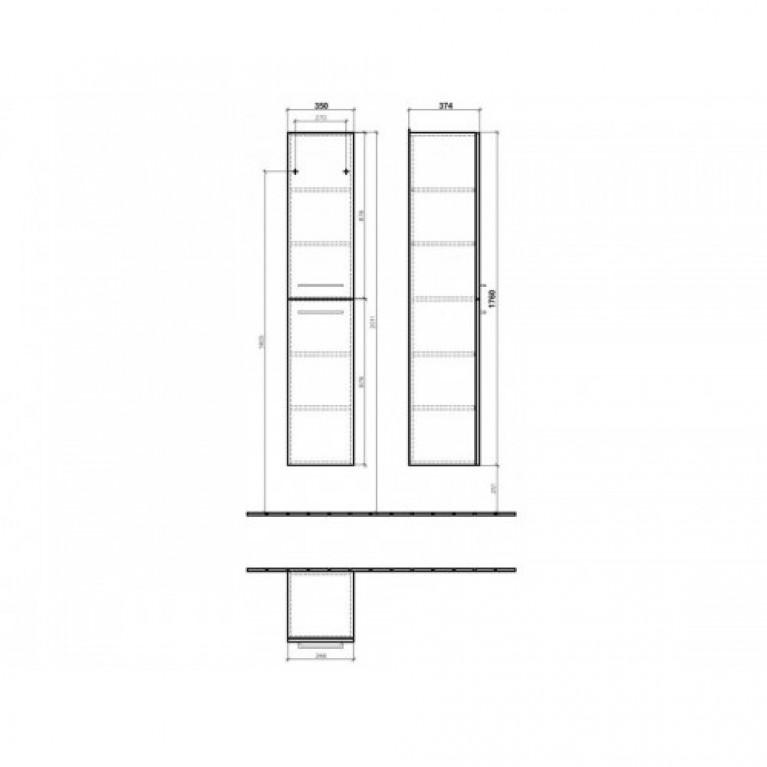 AVENTO шкаф-пенал 35*176*37см, подвесной, цвет Crystal Grey, фото 2