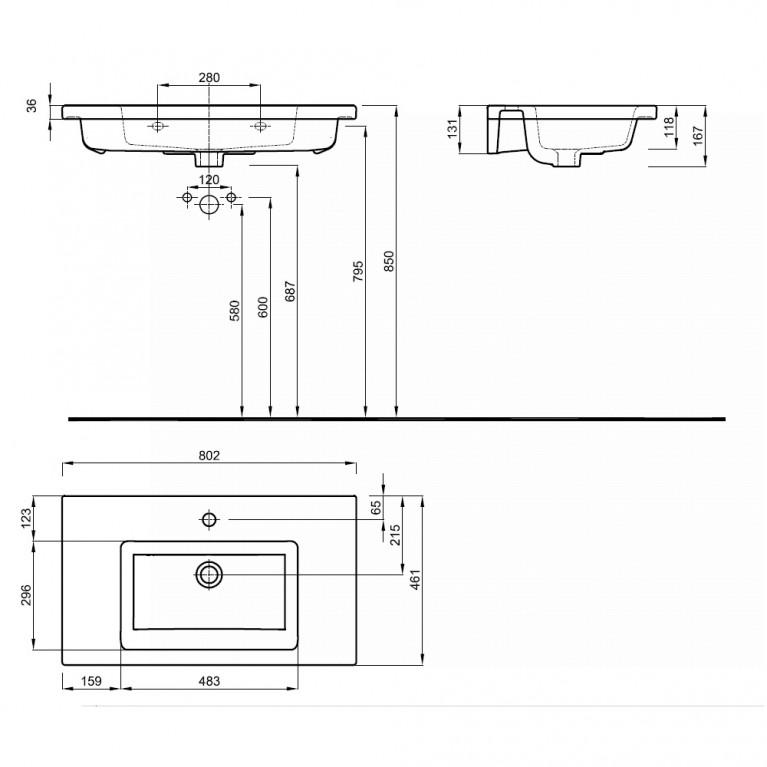 TWINS умывальник 80см, мебельный, с тонким бортом L51980000