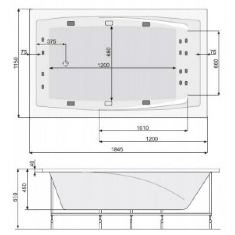 FANTASY ванна 185*115см, с системой аэро и гидромассажа Economy 2 PHP1H10SO2C0000, фото 3