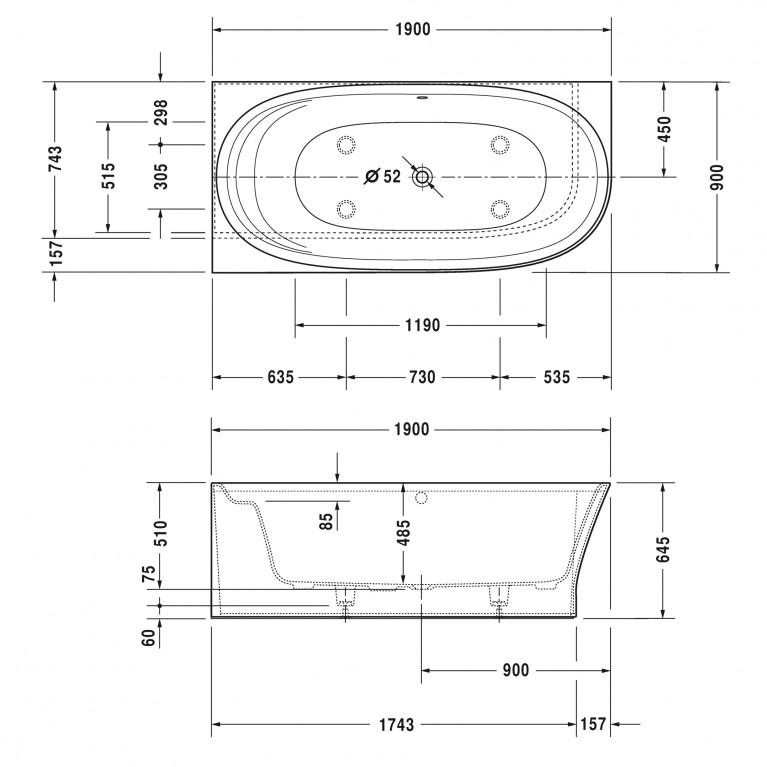 CAPE COD ванна 190*90*48,5см,  угол слева, с бесшовной панелью и ножками, с одним наклоном для спины 700362000000000, фото 4