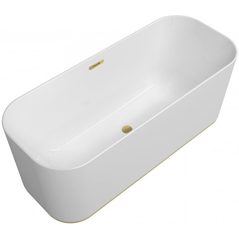 FINION ванна 170*70см отдельностоящая, бесшовная, подсветка, перелив, ф-ии Emotion, ViSound, оснащение-золото, цвет белый альпин, фото 1