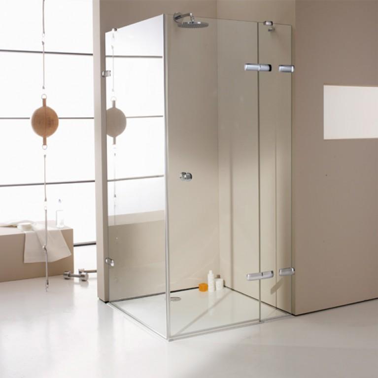 ENJOY ELEGANCE дверь распаш.  с неподв. сег м и бок. стенкой, В1=140 см, В2=80 см (проф хром, стекло прозр Anti Plaque), фото 1