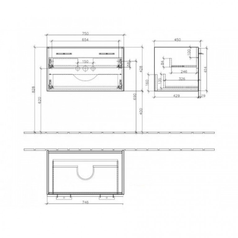 CENTRAL LINE тумба 75*43*45см подвесная, ручки - глянцевый алюминий, цвет корпуса - белый глянец, фото 2