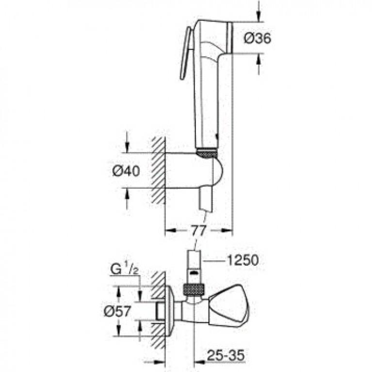 Tempesta-F Trigger Spray 30 Душевой набор с угловым вентилем, 1 вид струи, хром 27514001, фото 2