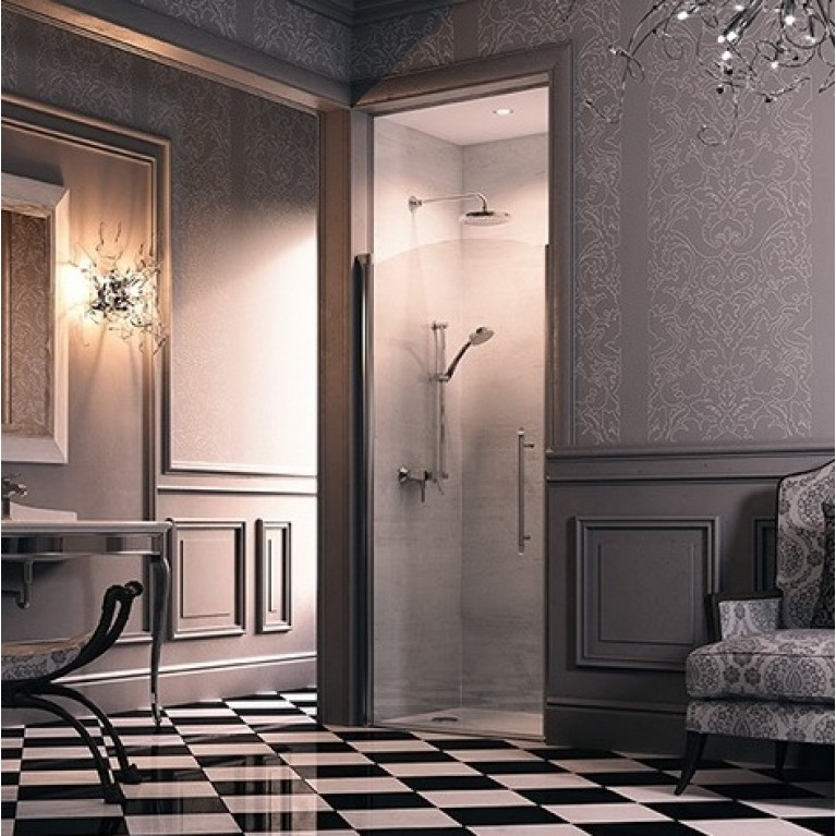 DESIGN VICTORIAN Дверь распашная 90*190см (проф гл хром, стекло Anti-Plaque) DV0102092319, фото 2