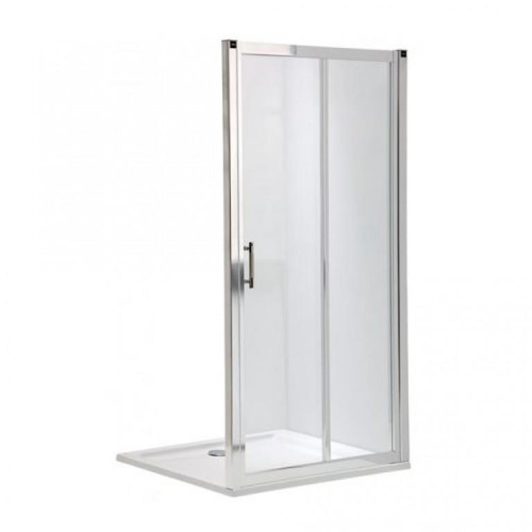 GEO 6 двери раздвижные 2-элементные 110 см, закаленное стекло, серебряный блеск, фото 1