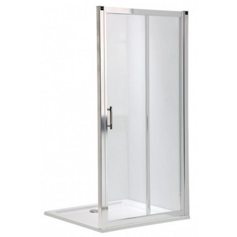 GEO 6 двери раздвижные 2-элементные 160 см, закаленное стекло, серебряный блеск (кабина состоит из частей 1/2 +2/2), фото 1