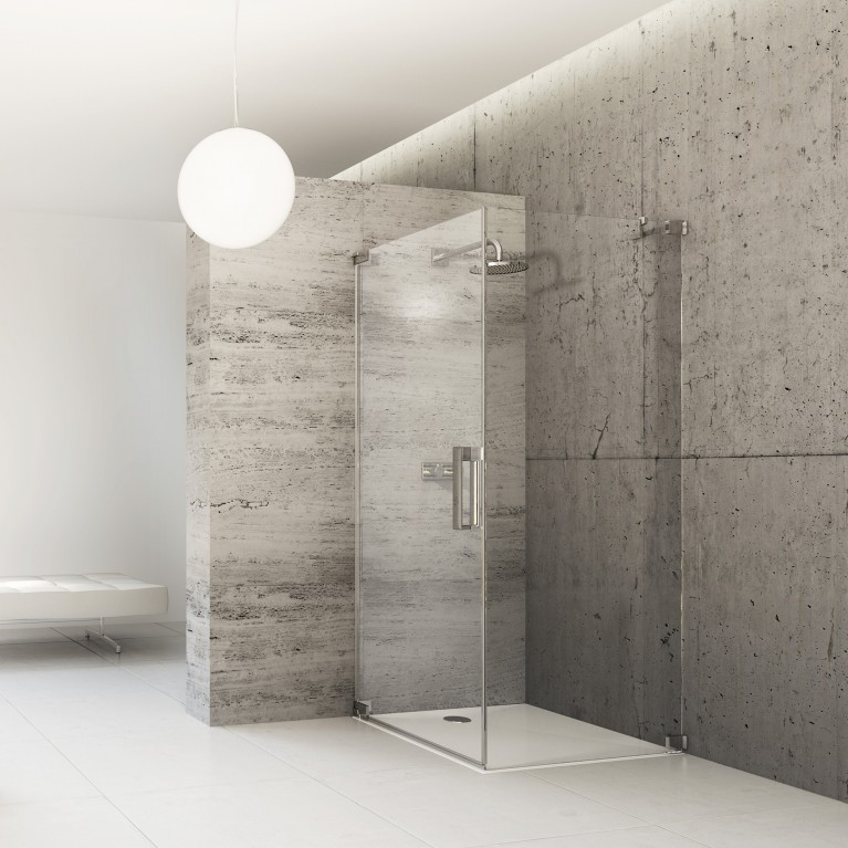 STUDIO PARIS ELEGANCE дверь распашная с боковой стенкой 100*100*200см(проф хром, стекло прозр)