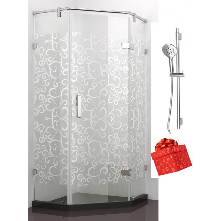 Душевая кабина пятиугольная 900х900х1900 мм цветочный узор+Штанга душевая L-80cm, ручной душ (120 мм, 3 реж) в подарок!