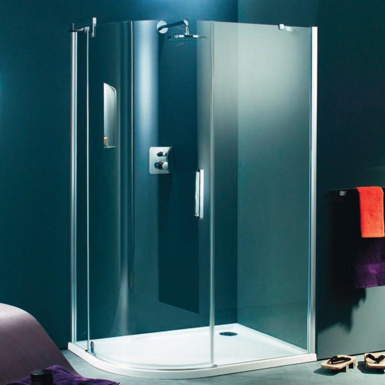 REFRESH дверь распашная с неподвижными сегментами 90*120см (проф титан серебро,стекло sand plus anti plaque)