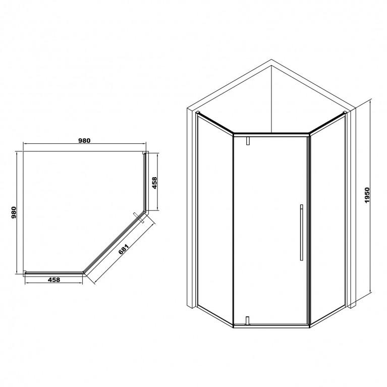 A LÁNY Душевая кабина пятиугольная, реверсивная, 1000*1000*1950 (стекла + двери) , двери распашные, стекло прозрачное  6 мм, профиль хром 599-553/1, фото 2