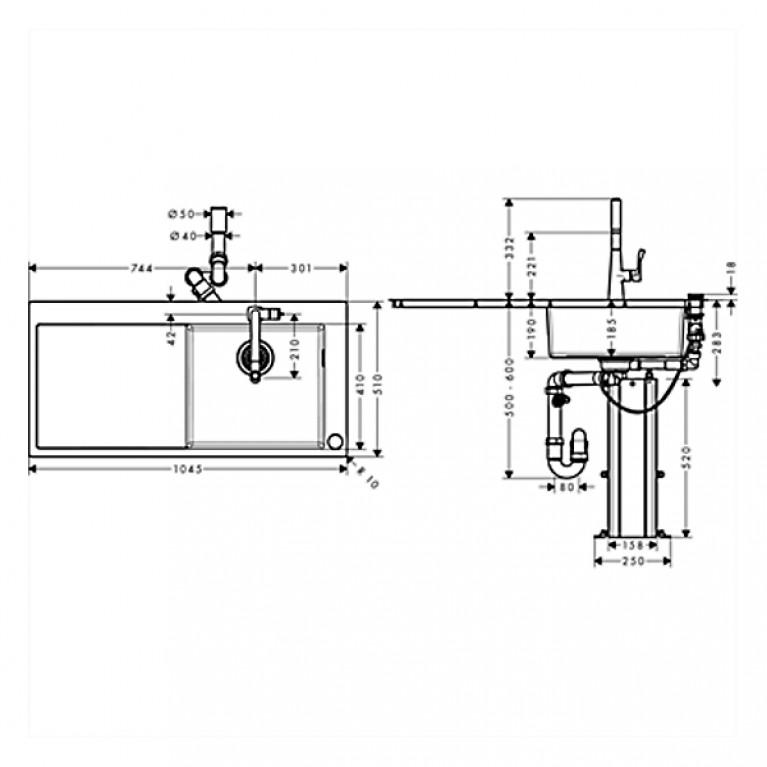 C71-F450-02 Мойка для кухни, встраиваемая, с отверстием под смеситель 43208000, фото 2