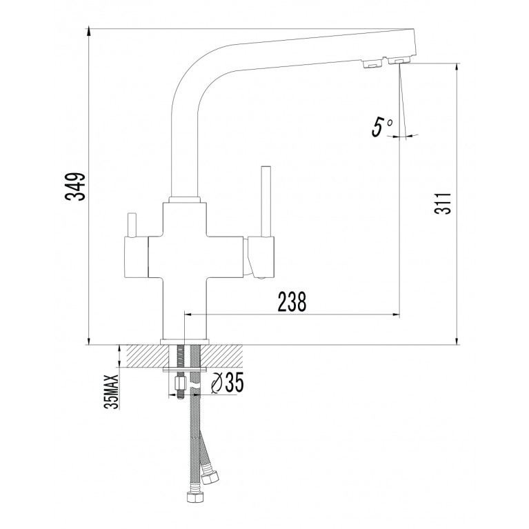 DAICY смеситель для кухни однорычажный с подключением питьевой воды, сатин 55009S-F, фото 2