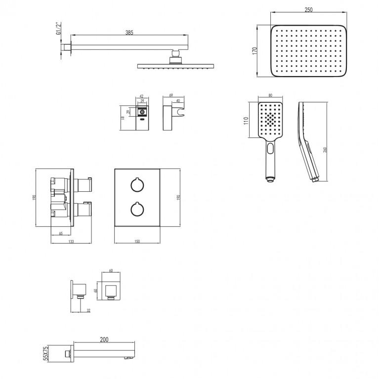 CENTRUM комплект для ванны/душа VR-51400, фото 2