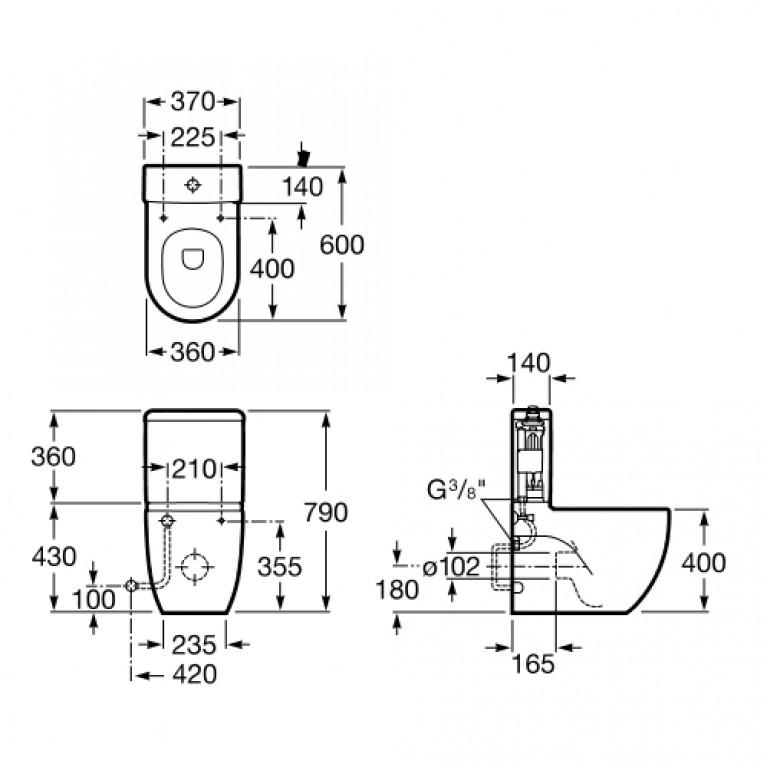 MERIDIAN-N компакт чаша пристенного напольного унитаза (в уп.) A342248000