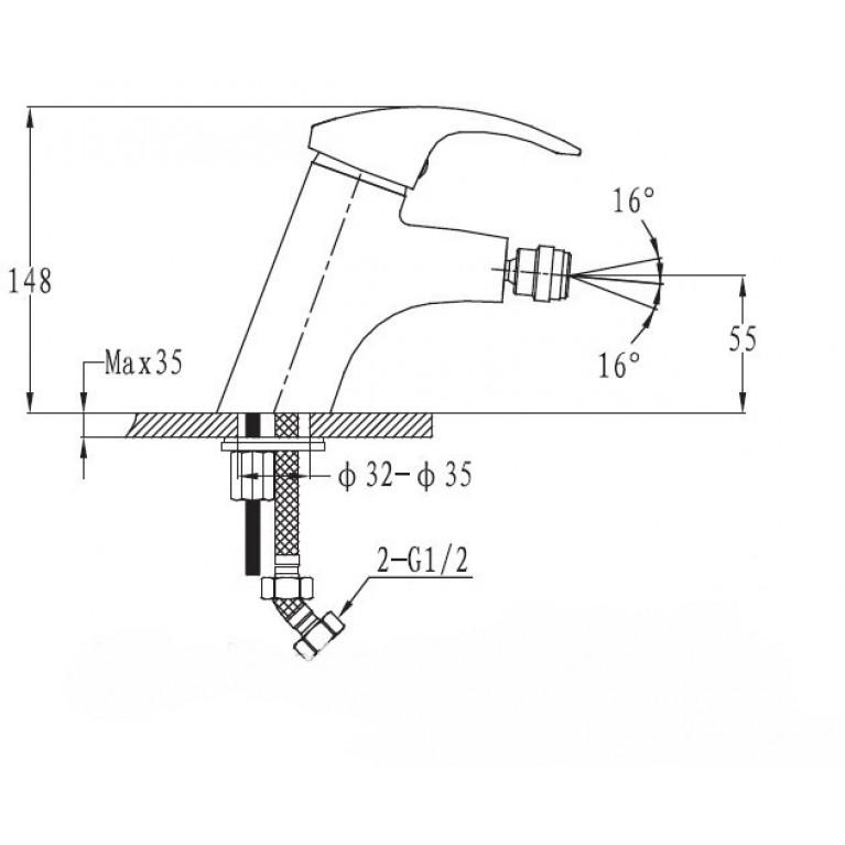 BRNO SATINOX смеситель для биде,сатин, 40 мм 4015S, фото 2
