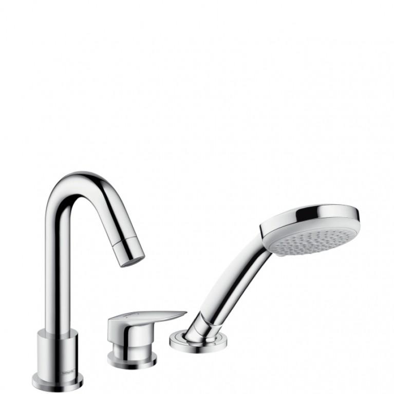 Logis Смеситель для ванны, на три отверстия, с ручным душем