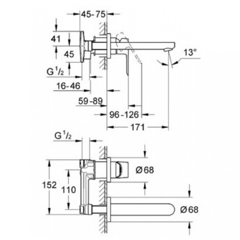 BauLoop Смеситель для раковины со стены на 2 отв. скрытого монтажа, однорычажный 20289000