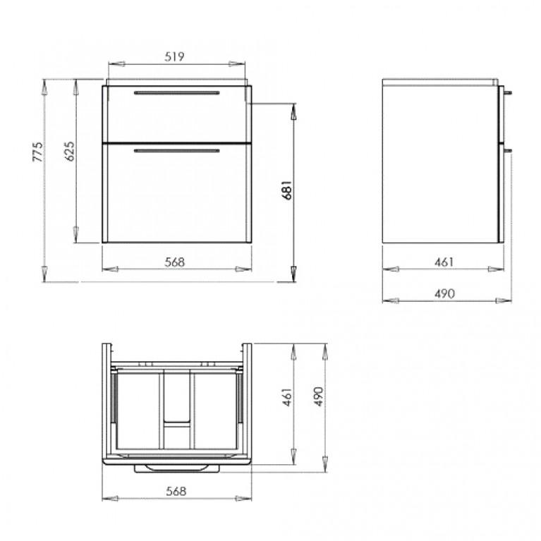 TRAFFIC шкафчик под умывальник 56,8*62,5*46,1 см, белый глянец (пол.) 89433000