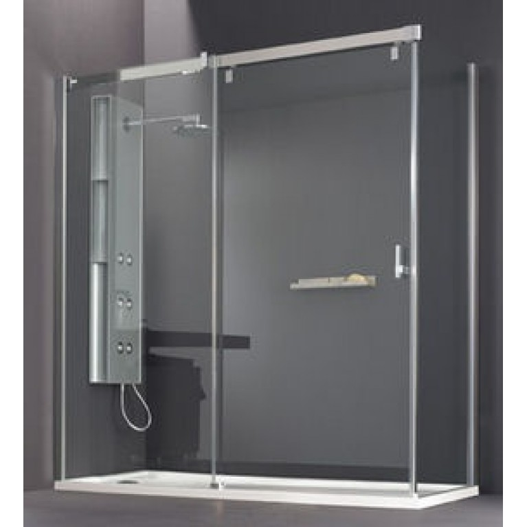 VISTA PURE дверь раздвижная с непод-м сегментом и боковой стенкой 1200*1000*2000 (проф хром, с-ло пpoзрAnti-plaque)