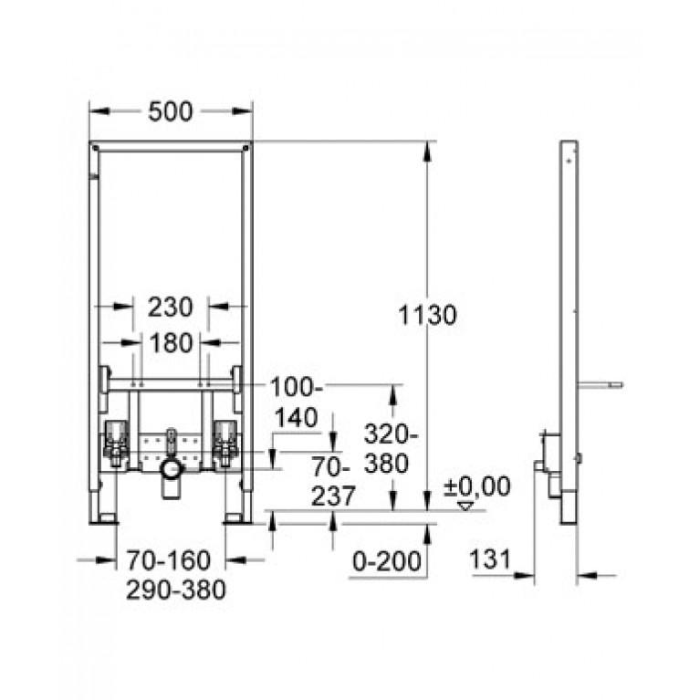 Rapid SL Инсталяционная система для биде (без принадлежностей для монтажа перед стеной) 38553001, фото 2
