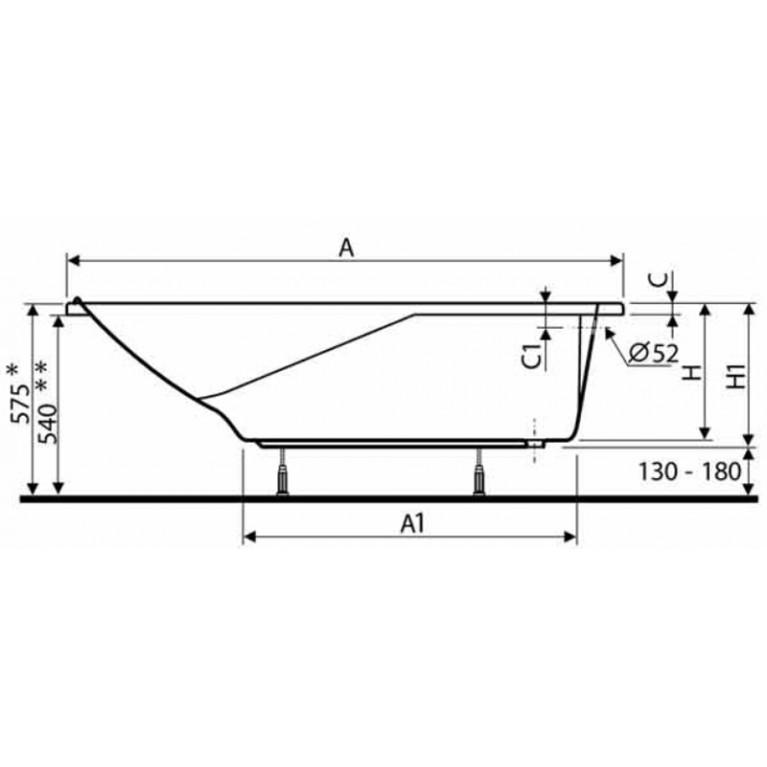 AQUALINO ванна прямоугольная 150*70 см, без ножек XWP3051, фото 2